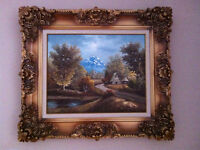 Antique Frame, Original Blue Mountain Oil Painting