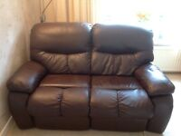 2 Seater Power Reclining Brown Leather Sofa
