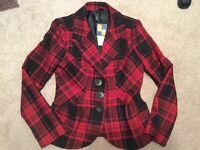 Size L women's plaid button-up blazer jacket - new with tags!