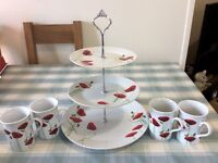 Poppy cake stand and 4x matching cups