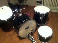 Bass Drum + 2 Attached Toms. + Floor Tom drums