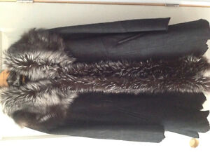 Black Suede Coat trimmed with Silver Fox Fur