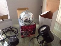 Party mirror ball with spot and mount motor