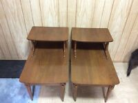 2 - Brown Retro End Tables
