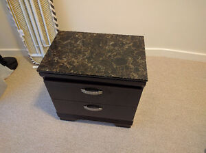 Two faux marble night stands - black/brown color