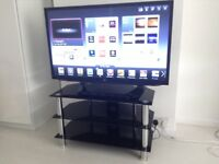 Modern Black Glass and Chrome TV Entertainment Stand