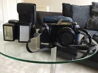 Canon T59 35mm camera and flash with cases