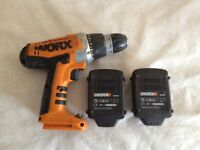 WORX 18V CORDLESS DRILL FOR SALE , WITH TWO LITHIUM - ION BATTERY, USED ONCE, ONLY MISSING CHARGER