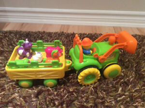 Farm tractor with animals