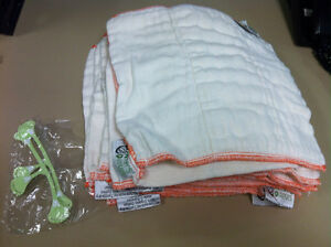 15 newborn prefold cloth diapers, 2 snappies