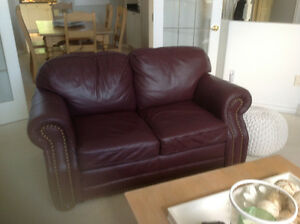 Burgundy Leather Love seat
