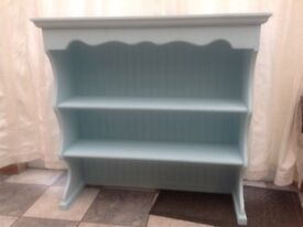 Wall book /display rack , Duck egg blue and waxed.