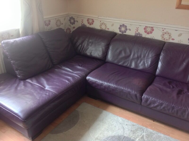 Purple Leather Corner Sofa With Arm Chair Dfs 5 Years Old