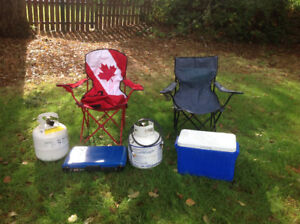 COLEMAN STOVE/PROPANE TANKS/CAMPING CHAIRS/COOLER