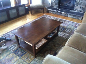 Solid wood coffee table.  Optional area rug