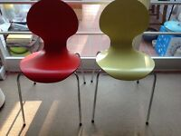 Retro Yellow and Red Wood and Chrome Ant Style Chairs