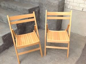 Two Wooden Folding Chairs