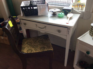 White painted wooden desk with drawer