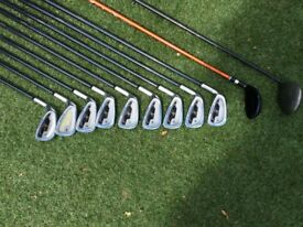 Left hand irons with driver and hybrid