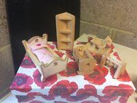 Wooden Doll's House Children's Bedroom Furniture Set