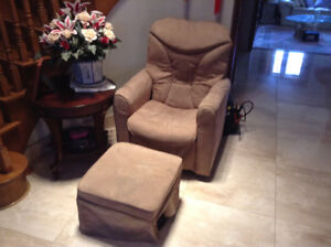 A Velvet TV reclining rocking chair with ottoman can deliver