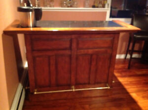 Solid Wood Bar with Marble Top & Storage!