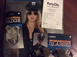woman's sassy police top with badge & glasses. -brand new