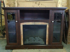 Electric fireplace and tv consol