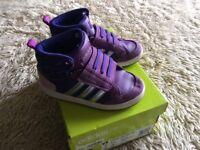 Adidas purple junior trainer 8.5