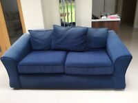 FREE 3 seater blue fabric sofas