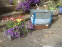 Vintage industrial galvanised troughs