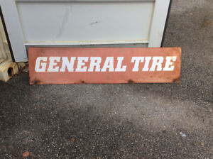 Antique rustic double sided GENERAL TIRE sign !