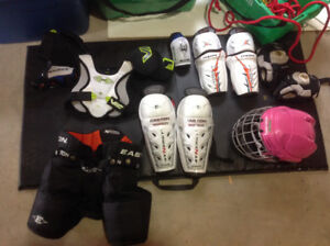 New player in your house? Various hockey equipment.