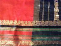 Red silk sari 5.25 m long by 96cm wide