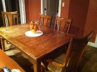 Kitchen table, 6 chairs with table, table, brown wood table