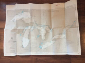 """""""ADMIRALTY"""" BOATING CHART OF THE GREAT LAKES. 28"""" x 40"""""""