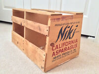 Wooden California Asparagus Shipping crate. Ex. Shape