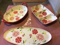 3 large serving plates