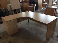 Beech L/Shape desk with pedestal