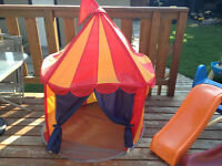 Plastic toddler slide and ikea castle tent