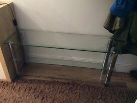 Glass and chrome TV stand / shelving unit