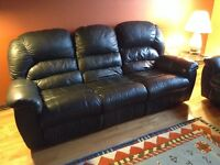 Leather couches @ carpet