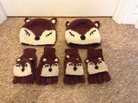 X 2 matching pair of fox hat & gloves .