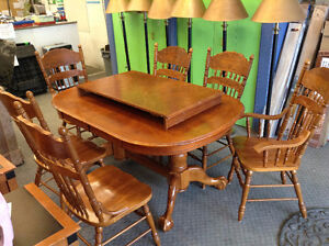 Double Pedestal Dining Table with Chairs