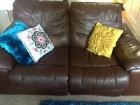 Reclining leather sofa (damage shown in pic 2)