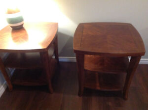 Solid wood coffee table and two matching end tables