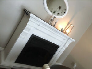 Beautiful Large  Wood Electric Fireplace Mantle