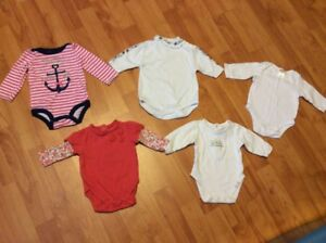 5 Baby Girl long sleeve diaper shirts, size 0-3 months