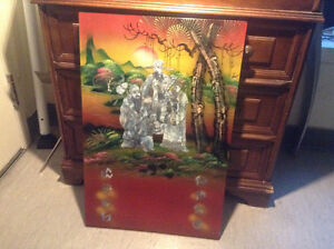 Vintage Mother of Pearl Inlay Scenic Panels Lacquer