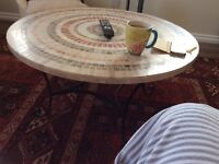 MOSAIC COFFEE TABLE FOR USE ANYWHERE WROUGHT IRON STAND